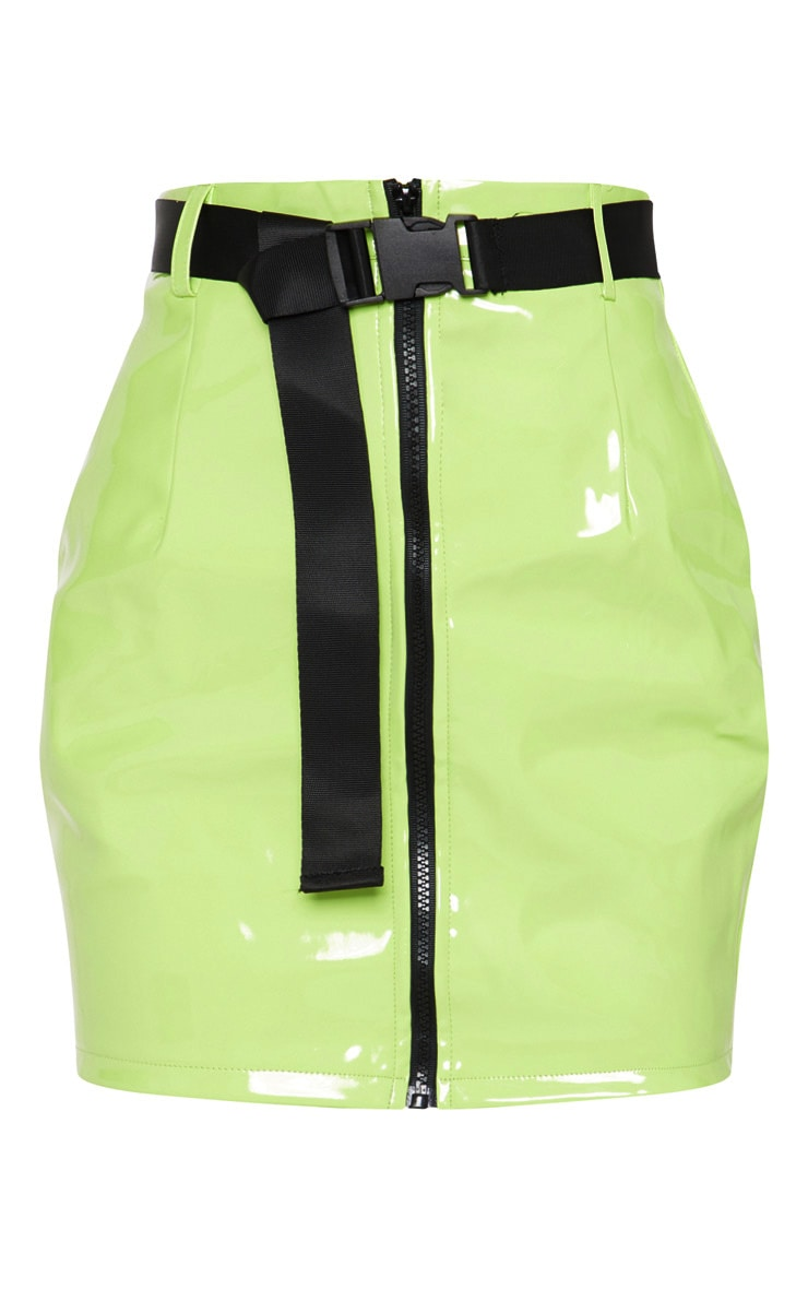 Neon Lime Vinyl Zip Front Belted Mini Skirt 3