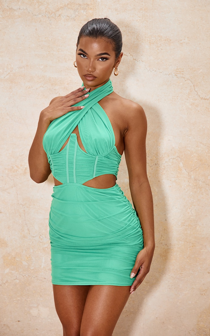 Green Mesh Halterneck Underbust Detail Cut Out Ruched Bodycon Dress image 1