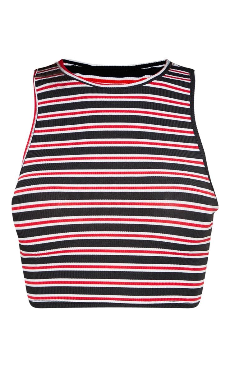 Basic Red Stripe Rib High Neck Sleeveless Crop Top 3