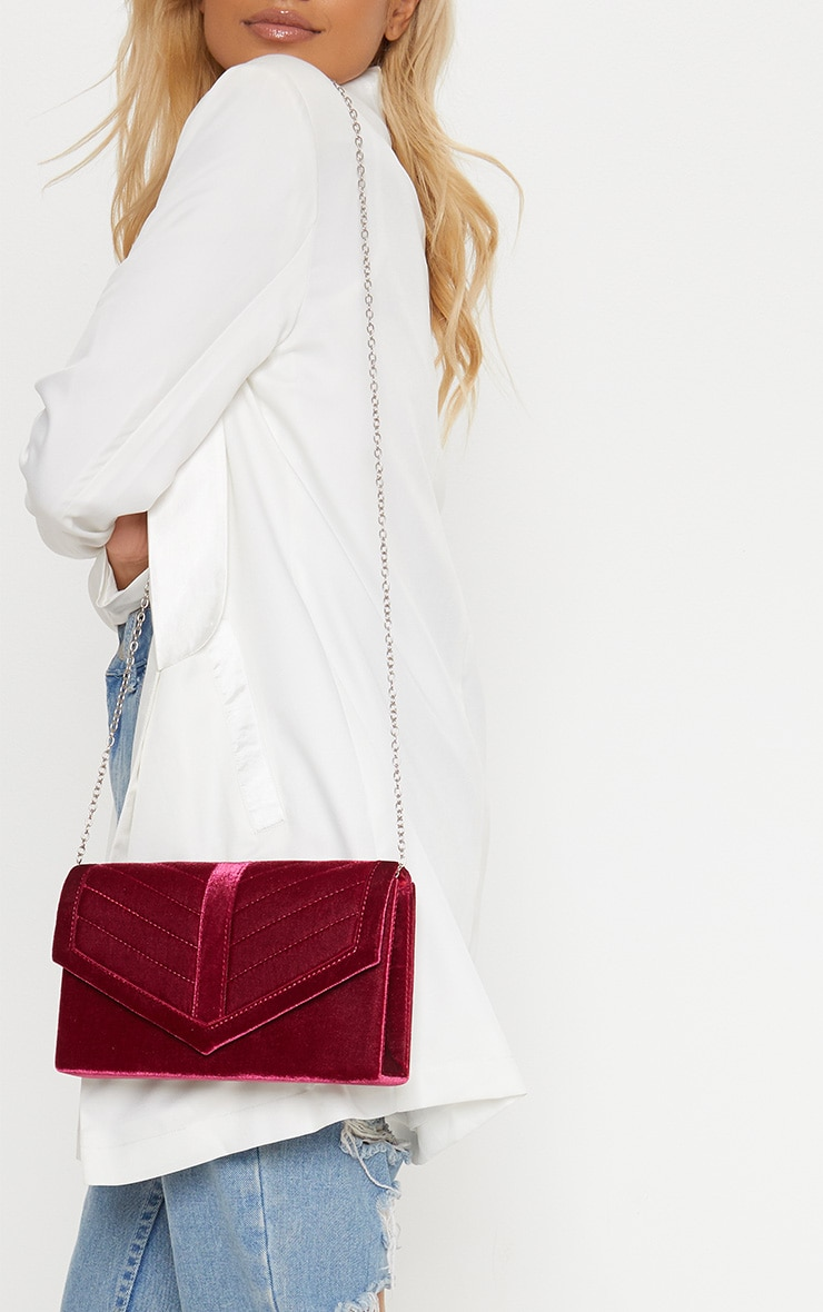 Red Quilted Velvet Cross Body Bag