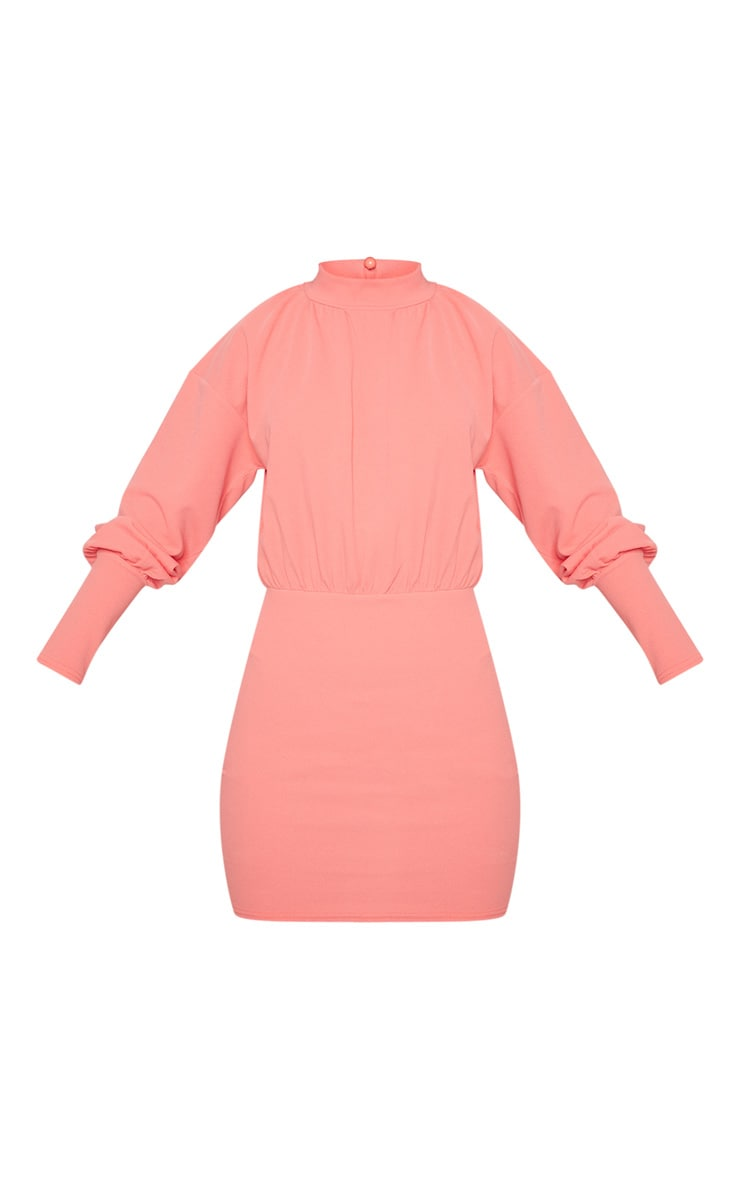 Coral High Neck Balloon Sleeve Bodycon Dress 3