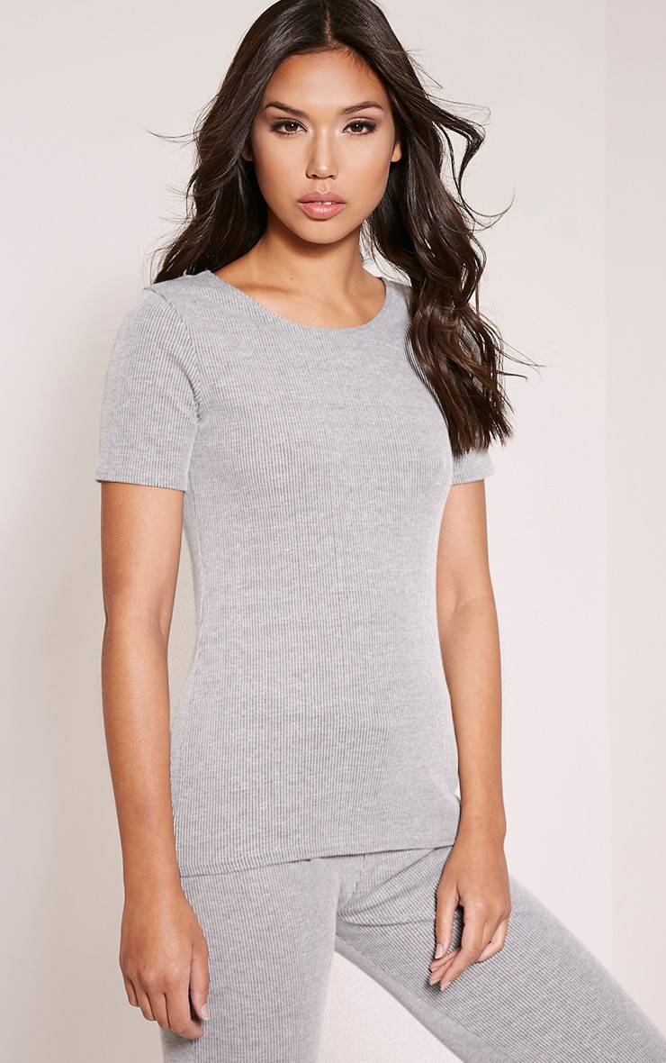 Rosie Grey Fine Ribbed T-Shirt 4