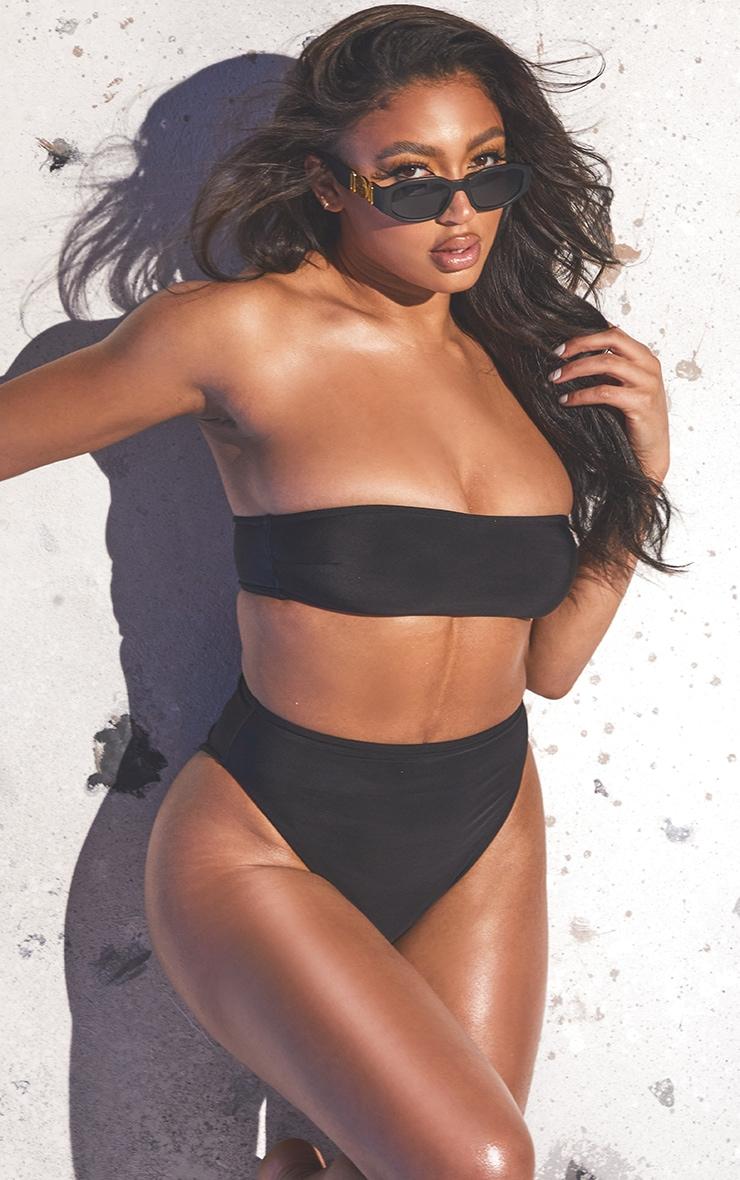 Black Recycled Fabric Bandeau Bikini Set 1