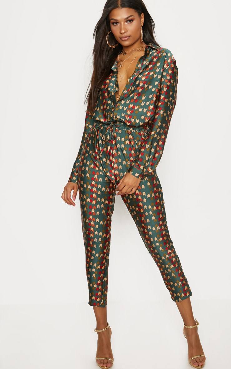 Green Chevron Print Oversized Shirt 4