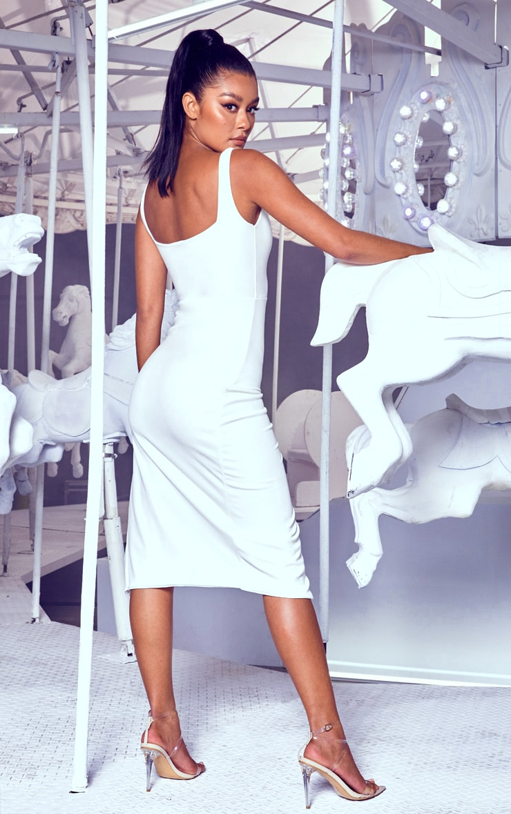 White Twist Extreme Split Midi Dress 2