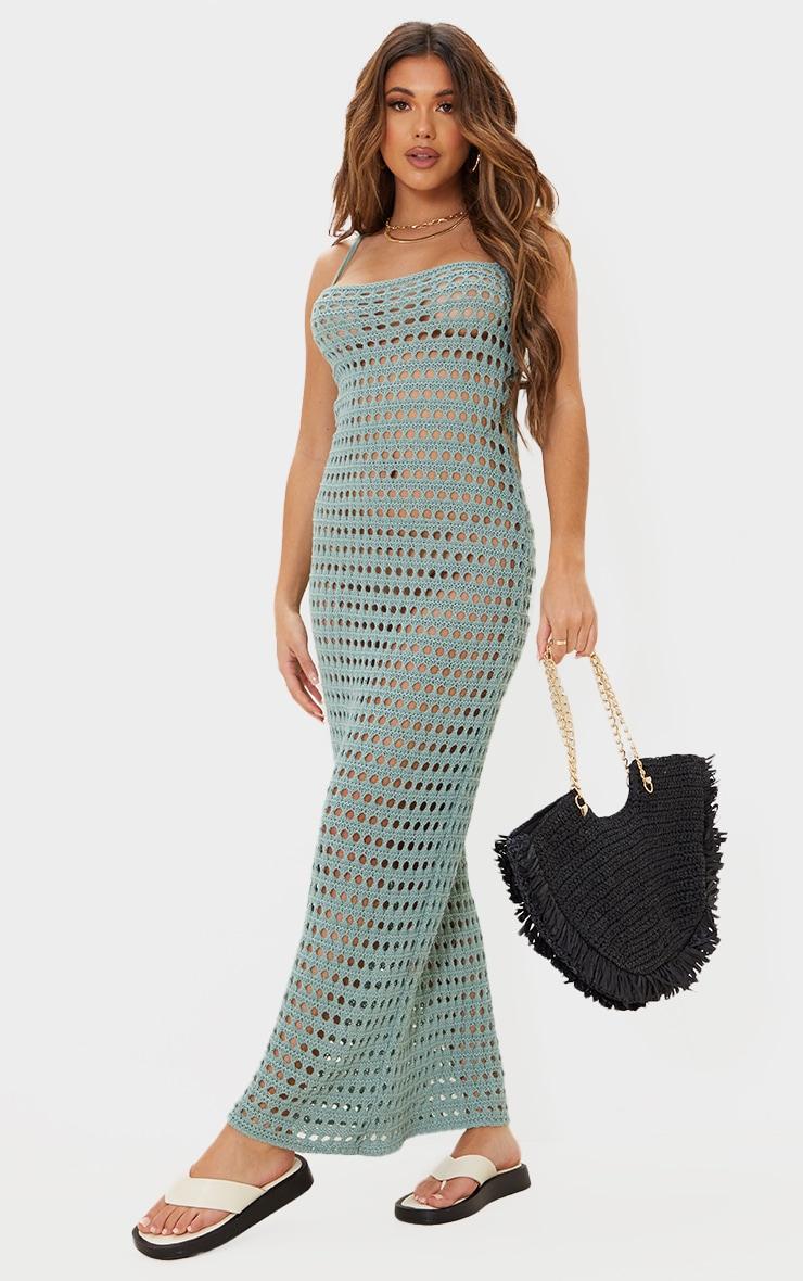 Sage Green Strappy Crochet Maxi Dress 1