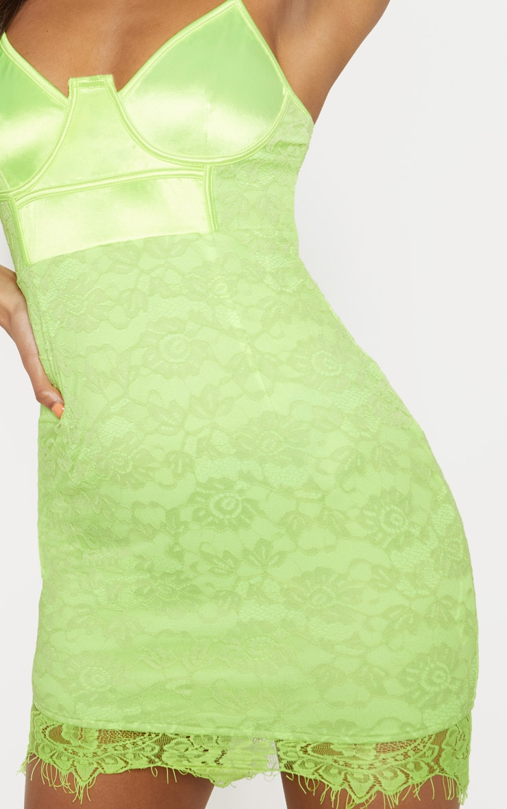 Lime Satin Top Bustier Lace Bodycon Dress 5