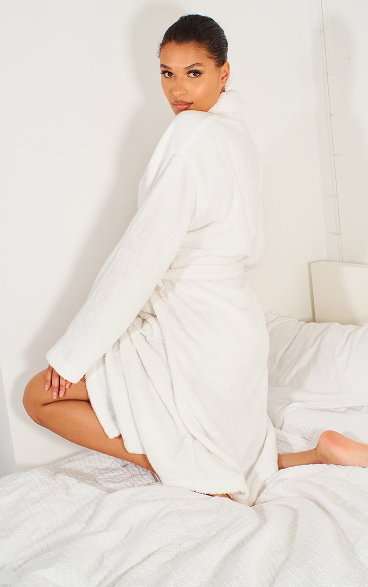 White Towelling Tie Waist Dressing Gown 2