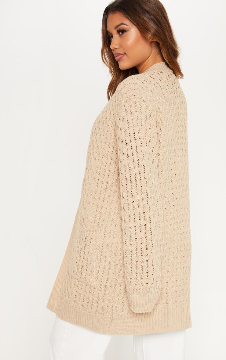 Stone Chunky Knitted Midi Cardigan  2