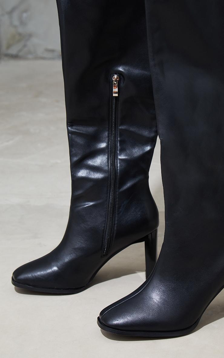 Black Wide Fit High Flat Block Heel Over The Knee Boot 4
