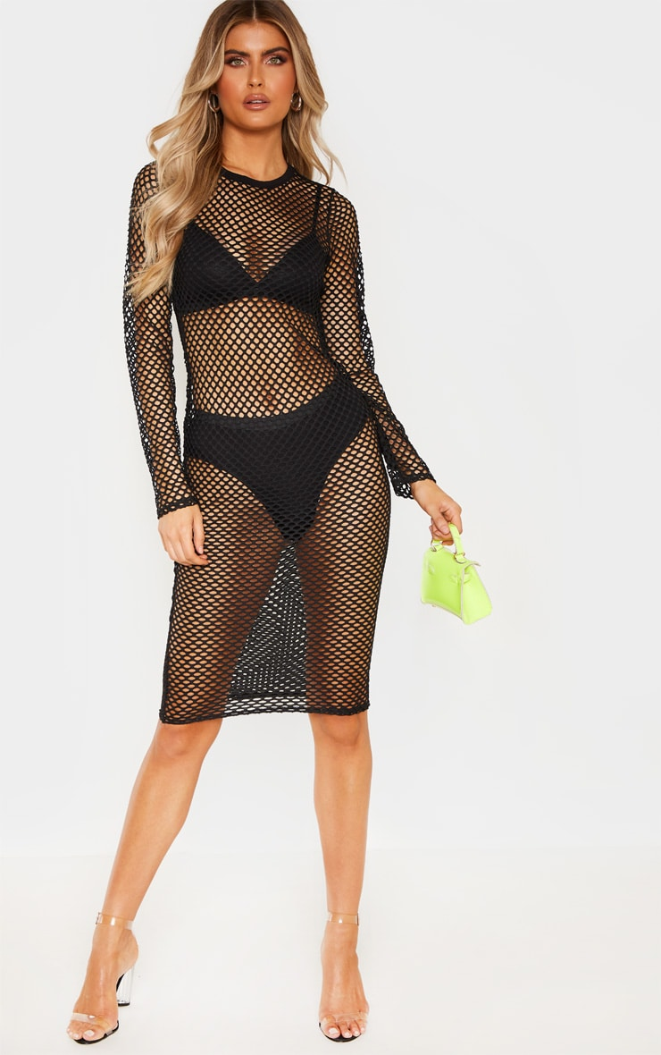 Tall Black Fishnet Mesh Long Sleeve Midi Dress 1
