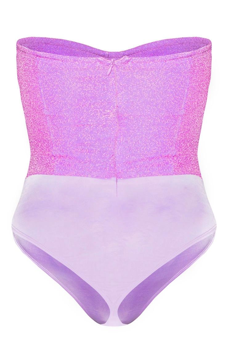Lilac Glitter Bandeau Cupped Bodysuit 4
