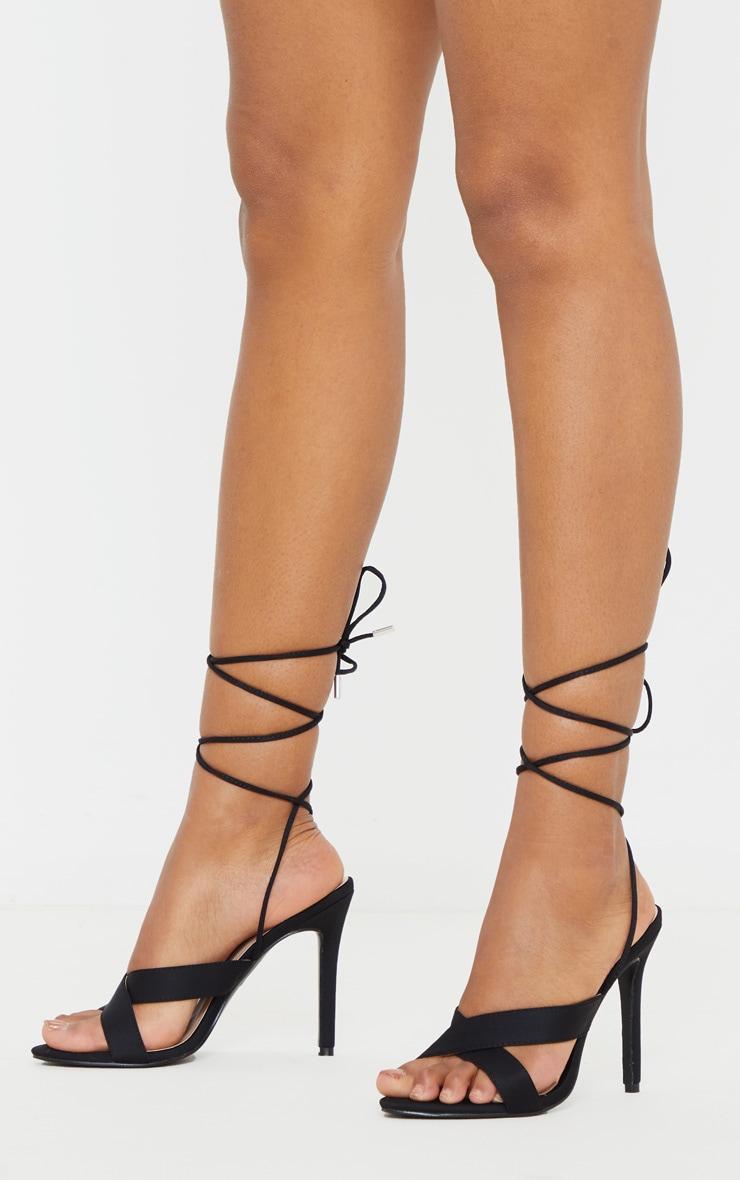 Black Cross Strap Ankle Lace Up Heeled Sandal 1