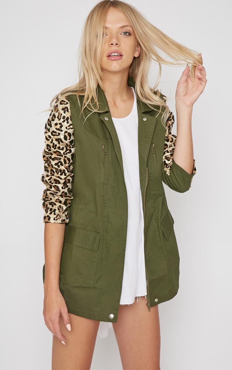 Fern Khaki & Leopard Sequin Parka Coat -XL 3