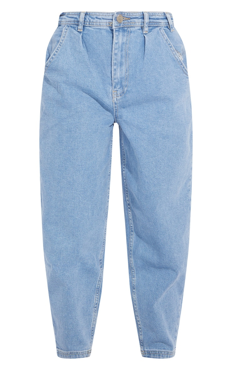 Petite Blue Mid Wash Balloon Straight Leg Jeans 5