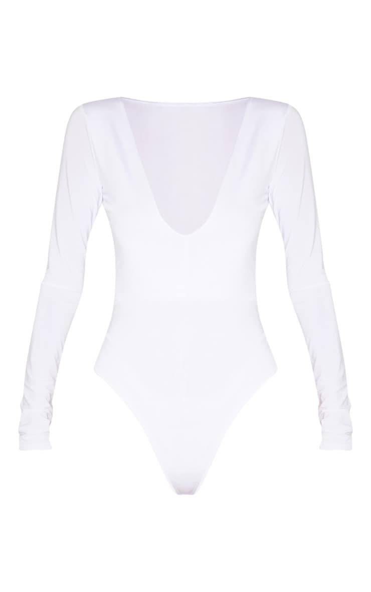Tall White Slinky Plunge Bodysuit  3