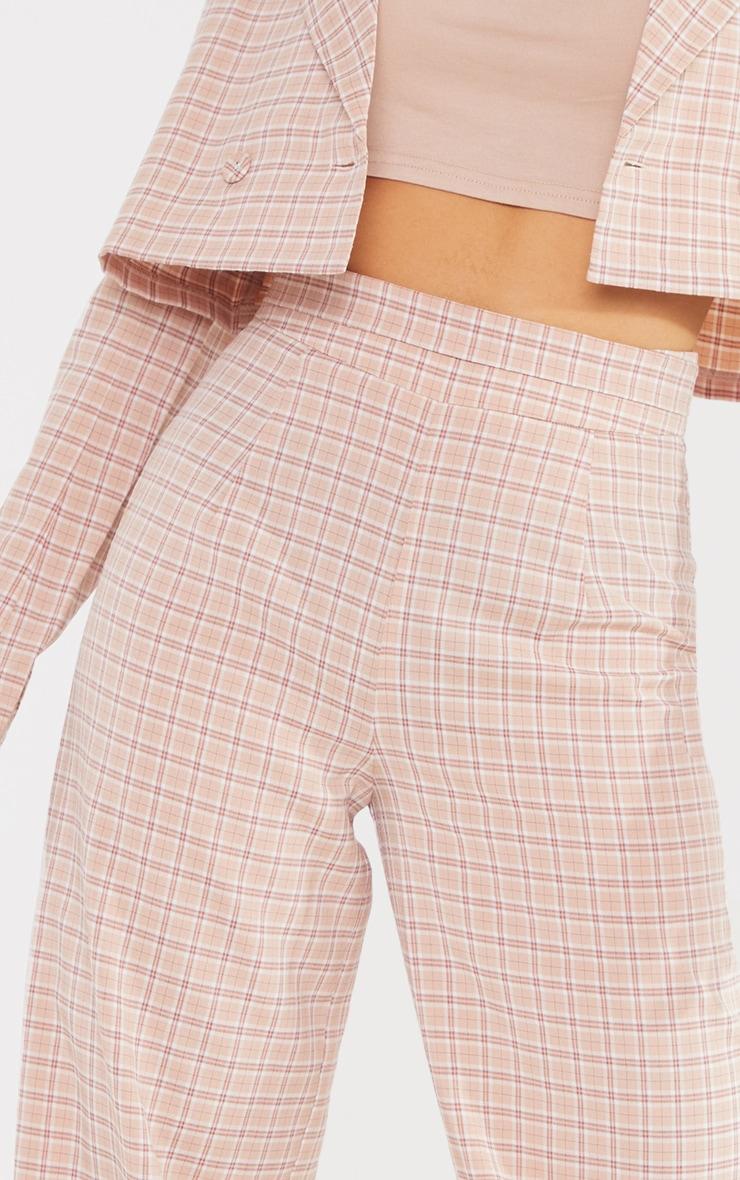 Petite Stone Check Waist Detail Wide Leg Tailored Pants 4