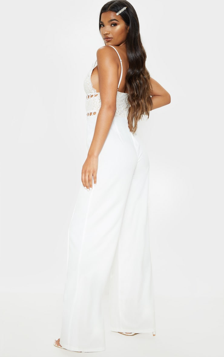 White Lace Strappy Jumpsuit 2