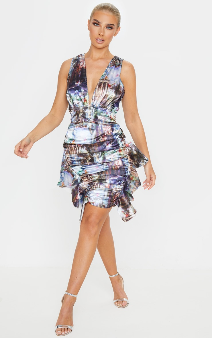 Multi Renaissance Satin Sleeveless Ruched Frill Dress 3