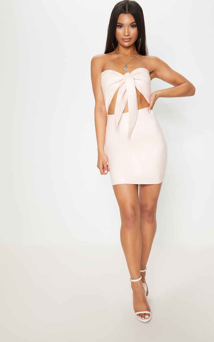 Nude PU Tie Front Cut Out Bodycon Dress 4
