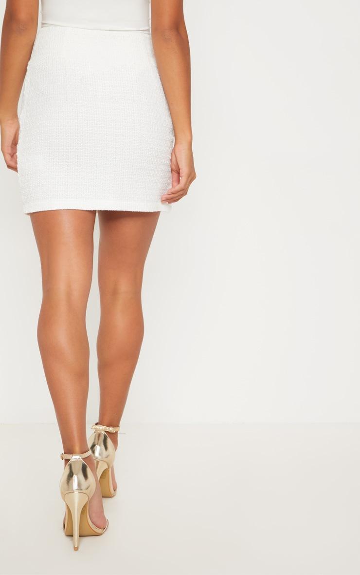Petite White Boucle Mini Skirt 4