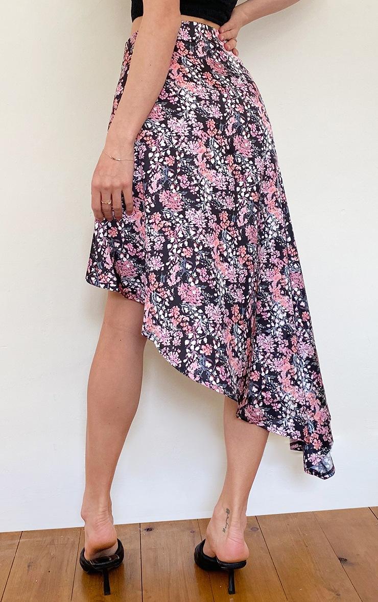 Black Ditsy Floral Satin Asymmetric Skirt 3
