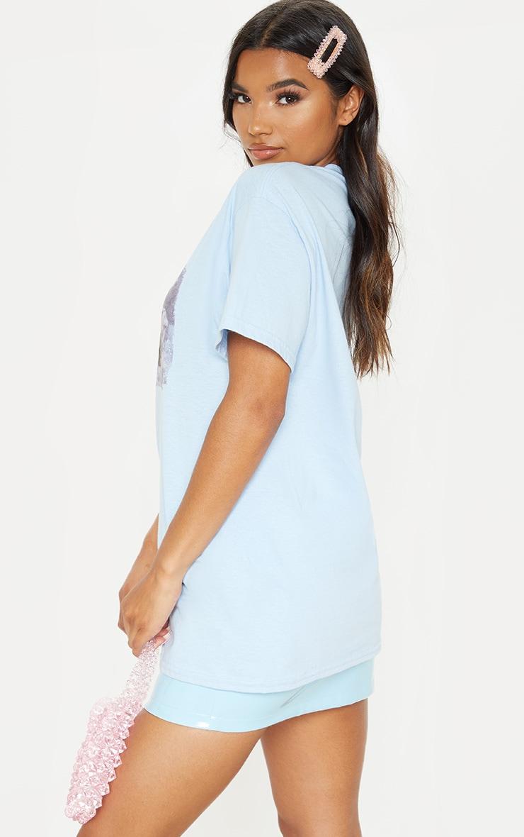 T-shirt oversize bleu à imprimé chérubin  2
