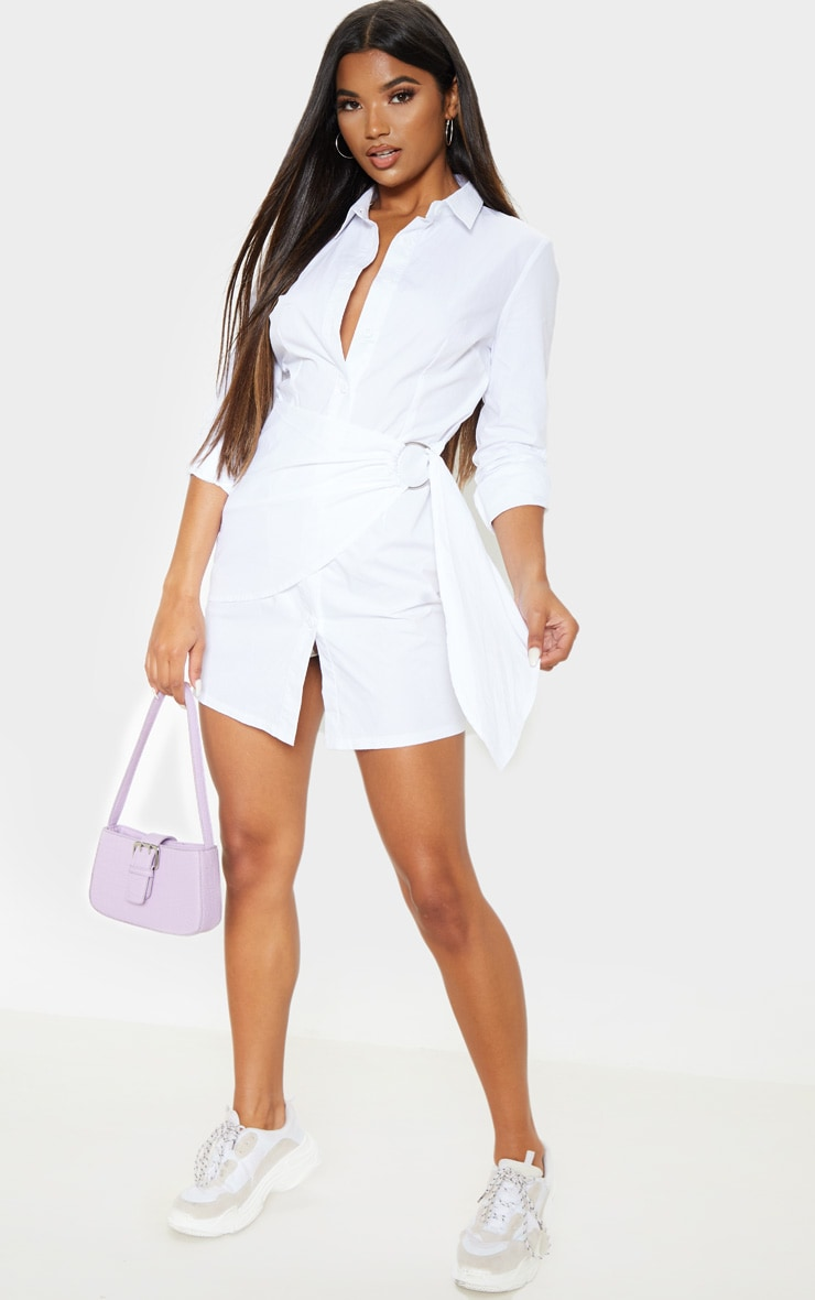 White Ring Detail Wrap Shirt Dress 1