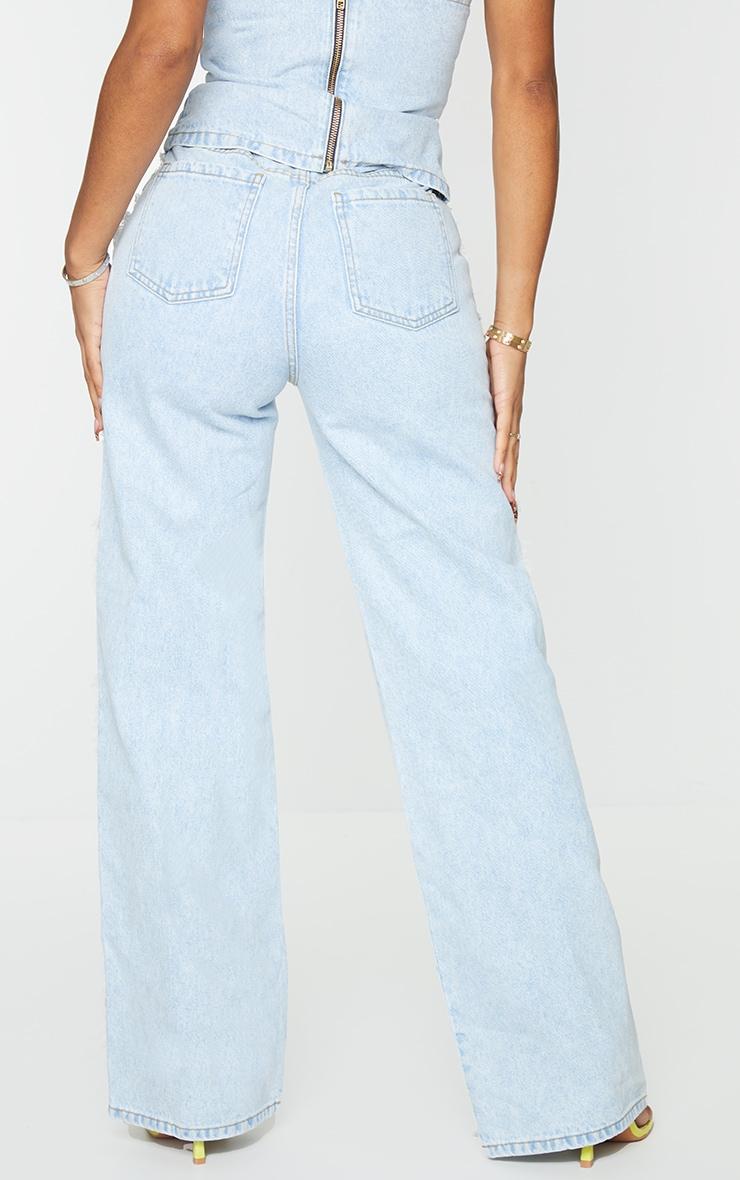 Shape Vintage Wash Fray Side Detail Wide Leg Jeans 3