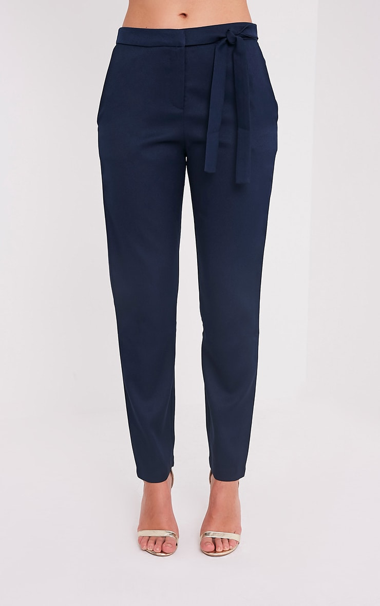 Avah Navy Tie Waist Cigarette Trousers 2