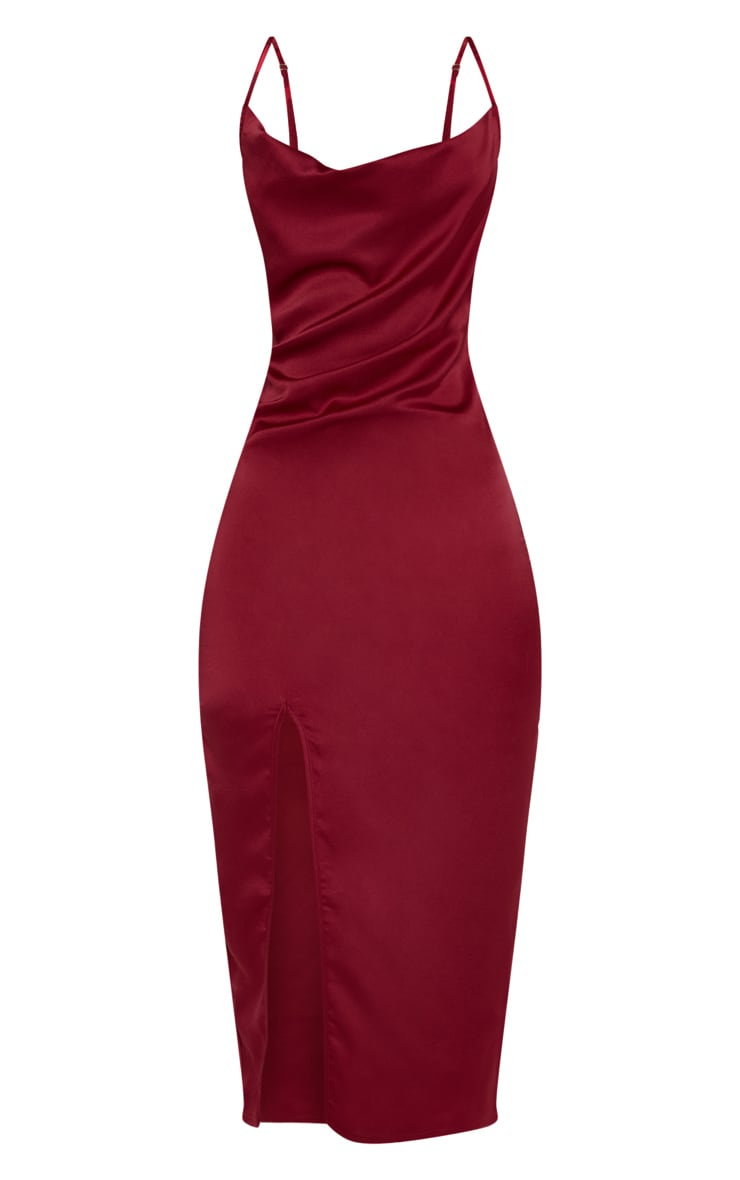 Burgundy Strappy Satin Cowl Midi Dress 3