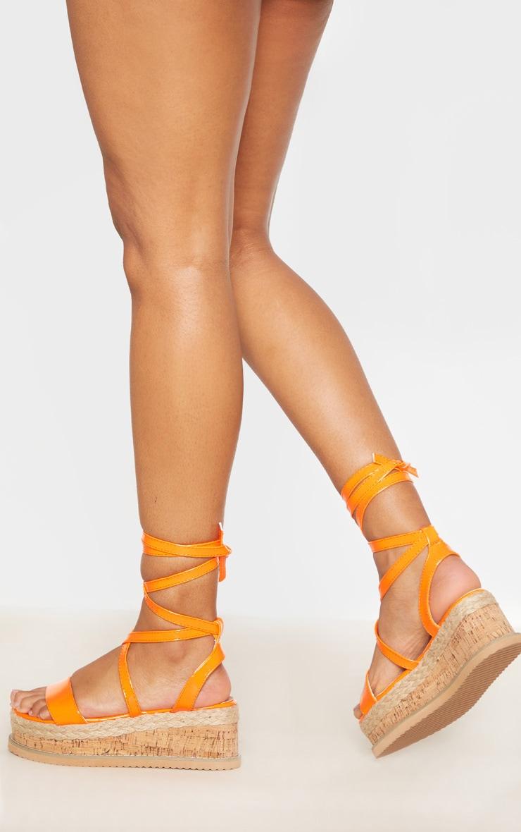 Orange Neon Flatform Espadrille Sandal 1