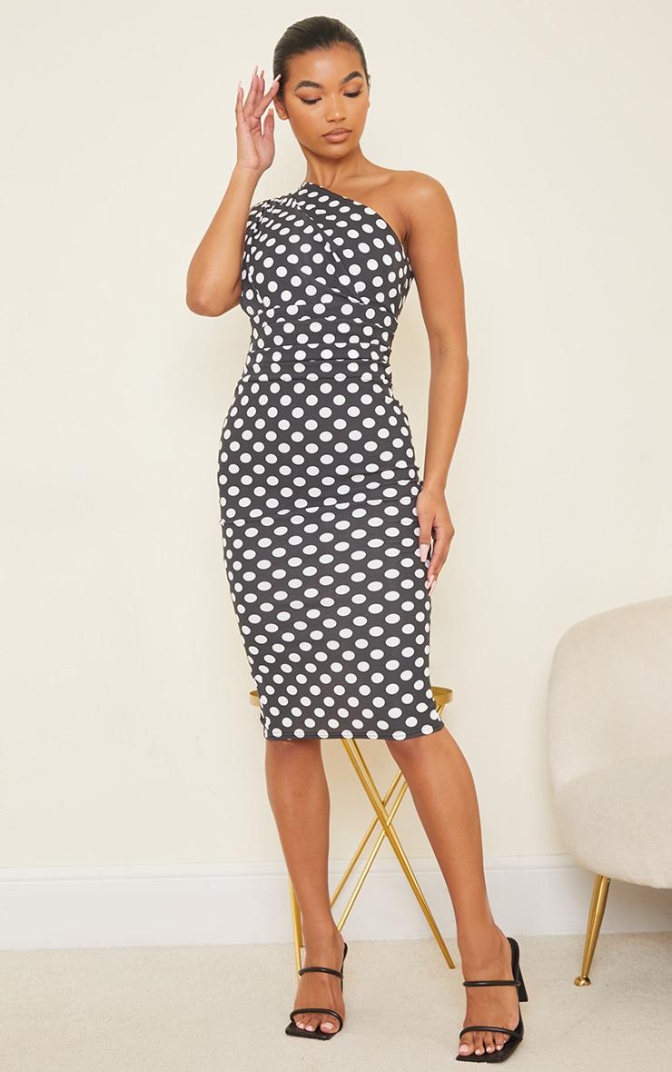Black Polka Dot One Shoulder Ruched Detail Midi Dress 3