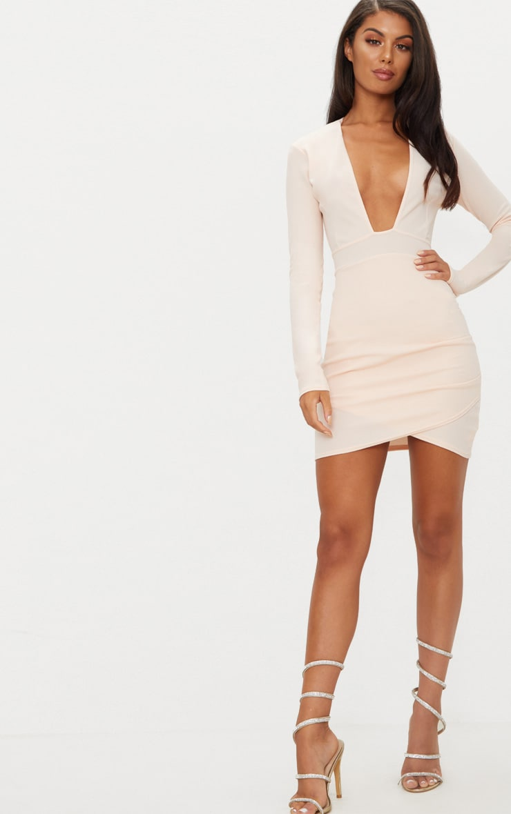 Nude Plunge Cut Out Back Wrap Skirt Bodycon Dress 4