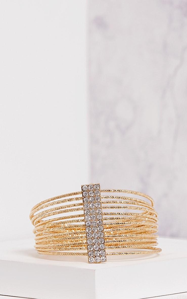 Yolane Gold Multi Layer Diamante Bangle 2
