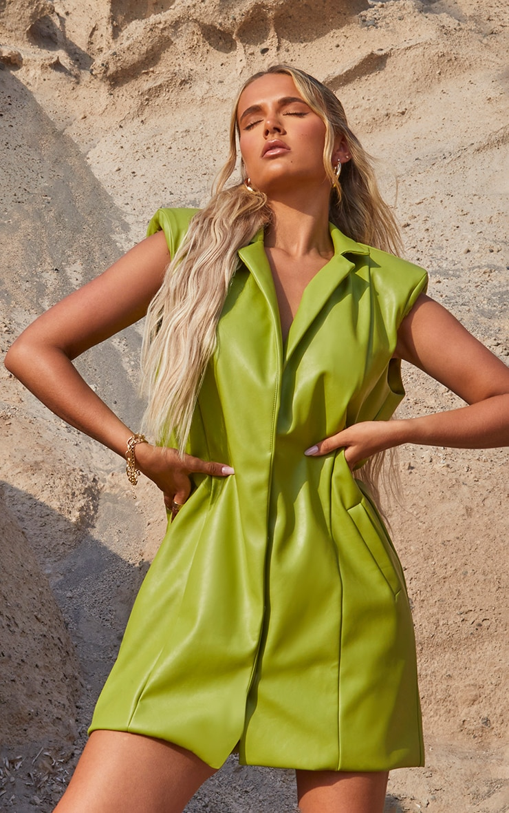 Olive Oversized PU Sleeveless Blazer Dress 1