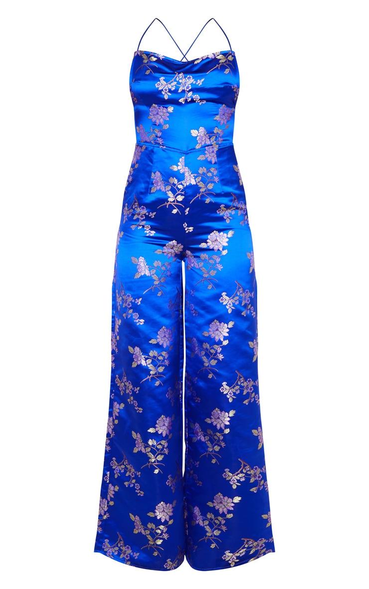 Cobalt Oriental Satin Lace Up Back Jumpsuit 5