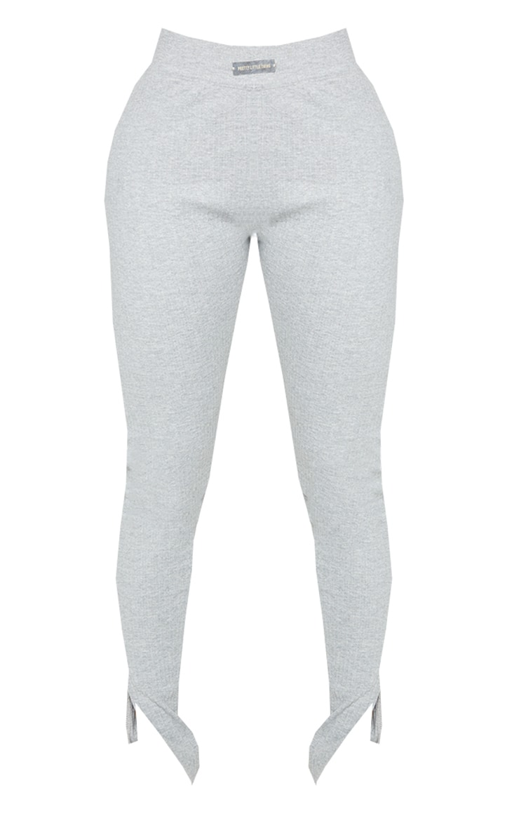 PRETTYLITTLETHING Shape Grey Rib Badge Detail Ruched Bum Leggings 5
