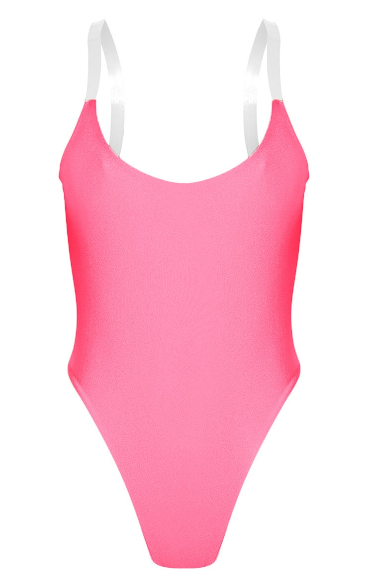 Neon Pink Clear Strap Scoop Swimsuit 7