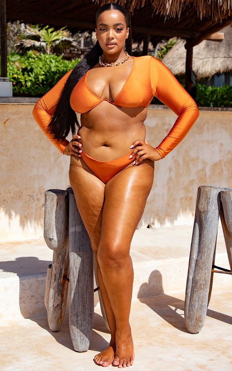 Plus Orange Underwired Long Sleeve Bikini Top 3