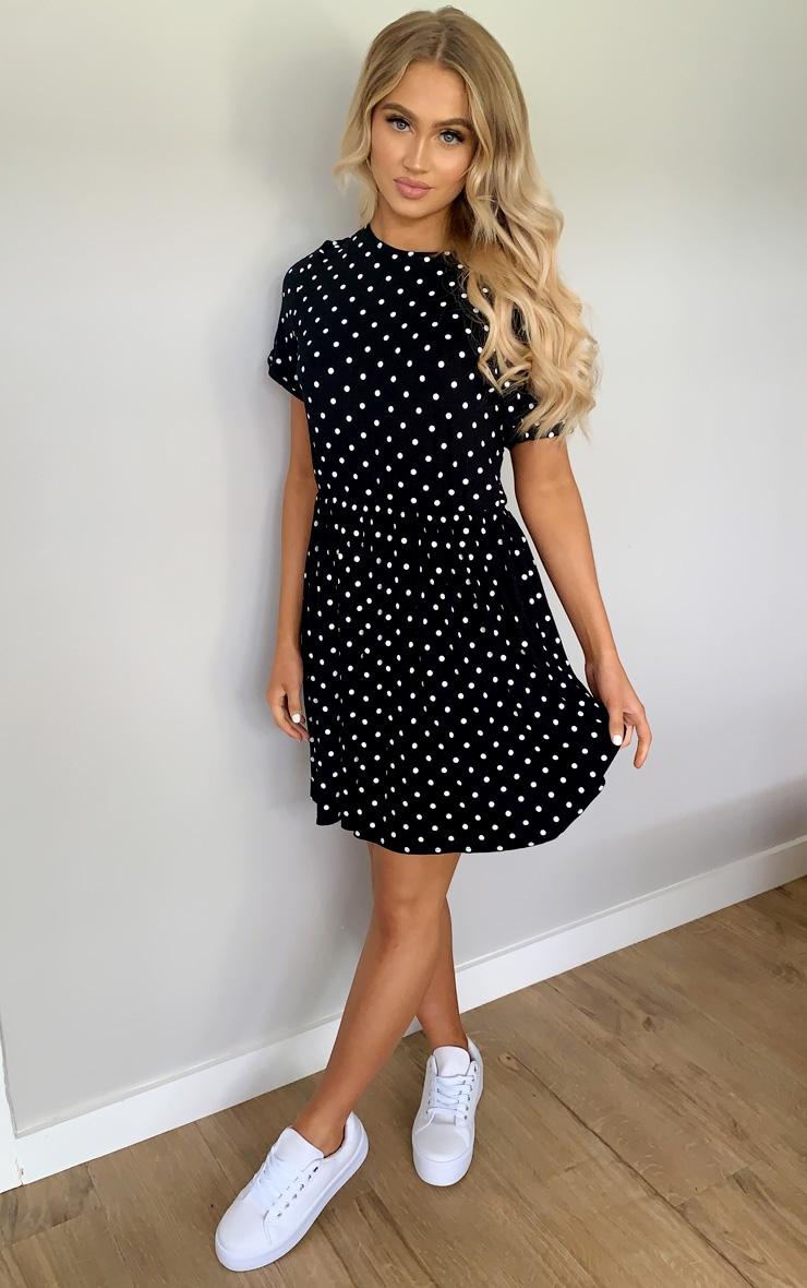 Black Polka Dot Frill Detail Smock Dress 3