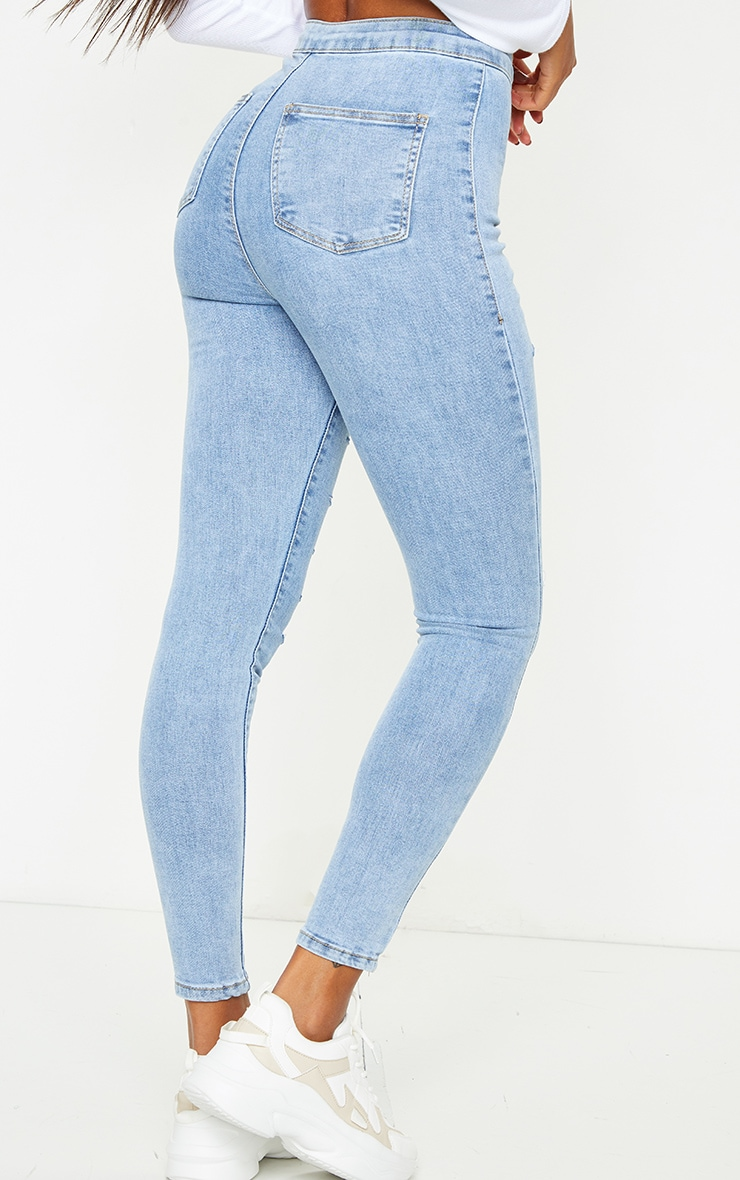 PRETTYLITTLETHING Vintage Wash Rip Distressed Disco Skinny Jeans 3