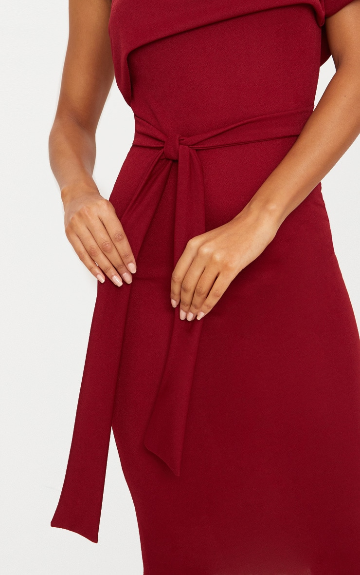 Burgundy One Shoulder Bardot Tie Detail Midi Dress 5