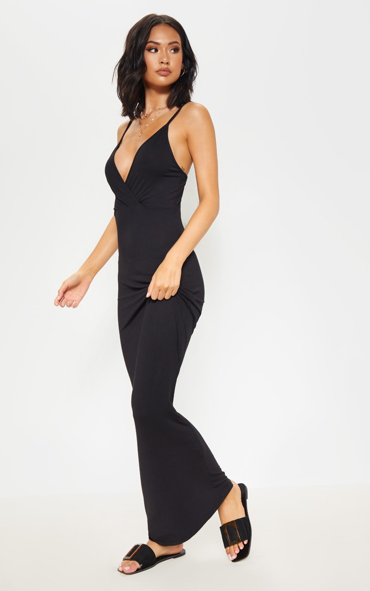 Black Jersey Plunge Strappy Maxi Dress 4