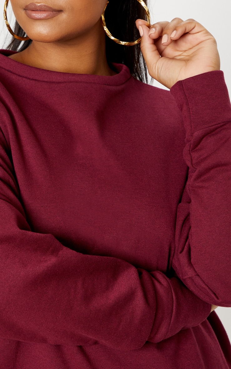 Plus Burgundy Oversized Sweater Dress 5