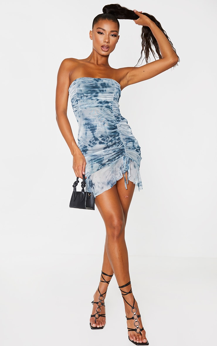 Blue Tie Dye Mesh Ruched Frill Edge Bandeau Bodycon Dress 1