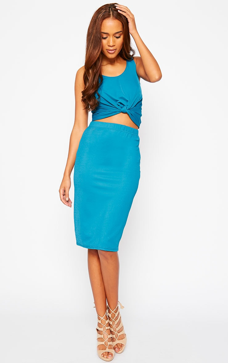 Zuri Turquoise Crepe Sleeveless Knot front Crop Top 3