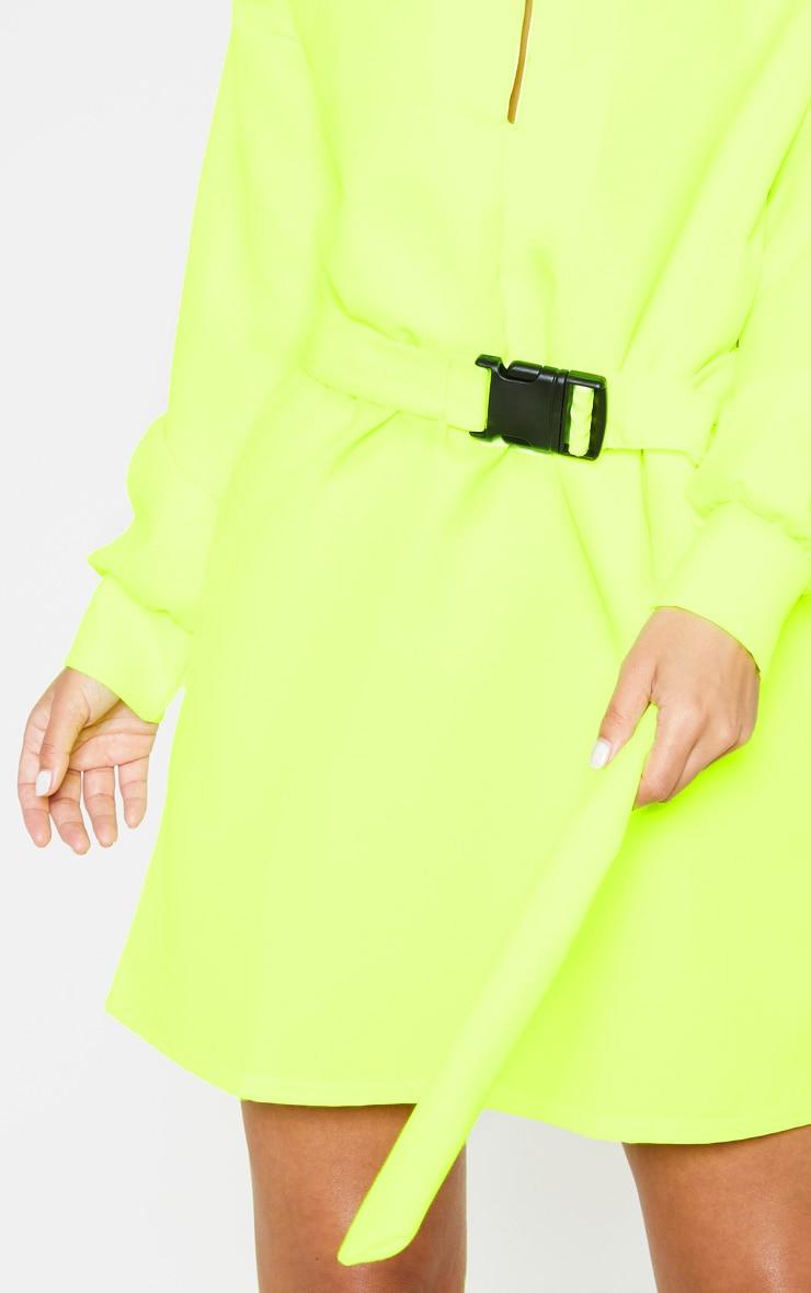Petite - Robe chemise cargo vert citron fluo à ceinture 5