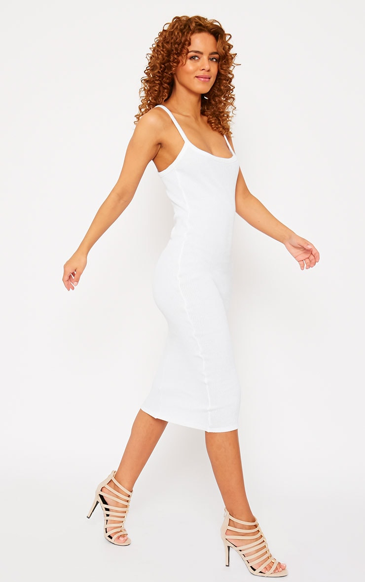 Tasmine White Ribbed Midi Dress 4