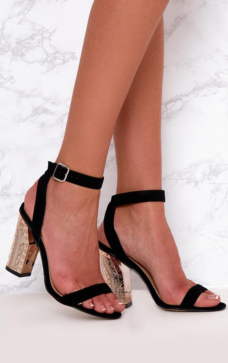 Black Faux Suede Ornate Heels 1